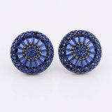 Blauer Zirconia-Ohrring in schwarzes Gold überzogenen kühlen Schmucksachen