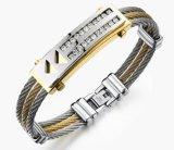 De creatieve 3 Armbanden Esposas van $ van de Armbanden van de Juwelen van de Manier van de Giften van de Armbanden van het Zirkoon van de Mensen van de Armbanden van China van de Rij Toevallige Roestvrij staal Ingelegde Beste
