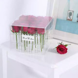 Silkscreen Logo Acrylic Flower Box Pink Packing with Lid