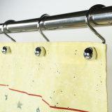 Tecido de poliéster Anti-Mildew Amarela Banheiro cortina do chuveiro