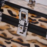 Caixa de jóia portátil da cópia PU+Aluminum do leopardo