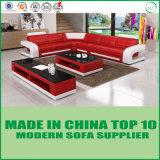 現代家具L形のコーナーの赤い革ソファー