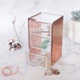Organizador cosmético de acrílico de la joyería del escritorio del oro de Rose