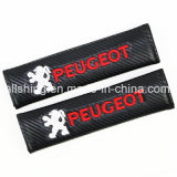 Because Logo Seat Belt Carbon Covers Shoulder Pads for Peugeot