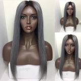 Парик волос Ombre средней части Dlme прямой серый синтетический