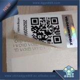 Qrコードタンパーの明白な機密保護のホログラフィック効果のステッカー