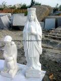 De witte Marmeren OpenluchtSteen die van het Beeldhouwwerk van de Tuin het Standbeeld van Boedha voor Verkoop snijden