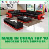 O mobiliário moderno L Shape sofás de couro vermelho do canto