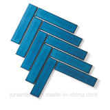 32,5x145mm cristal satinado de color azul oscuro Espina de Pez de porcelana esmaltada pared mosaico Mosaico