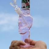 분홍색 두개골 디자인 유리제 Hookah 물 연기가 나는 관