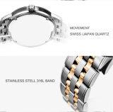 Manopola svizzera del cristallo di vigilanza di marchio degli uomini su ordinazione del quarzo per l'uomo