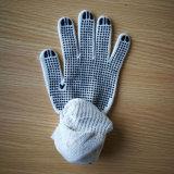 Gants de Polycotton de décolorant avec les points bleus de PVC