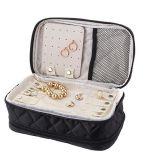 Le renivellement et le sac de course de bijou, sac cosmétique de Double couche (noir), doublent la caisse dégrossie d'article de toilette