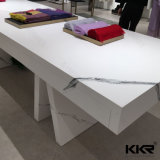 Office를 위한 현대 White 및 Orange Solid Surface Reception Desk