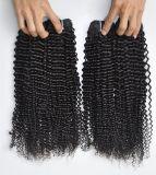 9Aペルーのねじれた巻き毛の自然で黒いカラー、加工されていない人間の毛髪の拡張