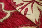 빨간 셔닐 실 자카드 직물 패턴 실내 장식품 직물