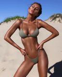 Earupean Color sólido de la moda sexy traje de baño Bikini mujeres abierto