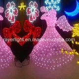 Van de Openlucht LEIDENE van Kerstmis de Lichten Decoratie van de Engel voor de Decoratie van het Park van de Winter