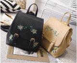 Frauen PU-lederne Rucksack-Schultasche für Mädchen-Rucksack-Blumenstickerei (WDL0935)