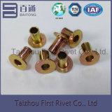 ribattino d'acciaio tubolare pieno capo piano di colore giallo dello zinco di 6X10mm