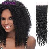 Unverarbeitetes brasilianisches Remy Haar-Spitze-Oberseite-Schliessen-natürliche Farbe