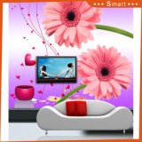 Grosse weiße Blumen der Fernsehapparat-Hintergrund-wasserdichte Tapeten-zwei für Dekoration-Ölgemälde