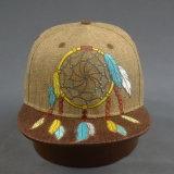 Moda bordado de tela de lino visera plana sombrero tapa equipada