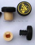 Синтетическая пробочка и совмещенный пластмассой затвор бутылки