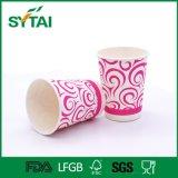 Tazas de café de papel disponibles de la bebida de la insignia de encargo material de papel del uso