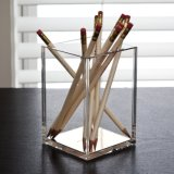 Support acrylique de grille de tabulation de crayon de crayon lecteur de grand dos d'or de Rose