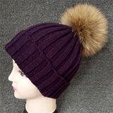 Sombrero de piel POM Poms/gorrita tejida del bebé/sombrero que hace punto