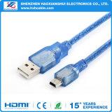 Prix bon marché transparent bleu câble Mini USB 2.0
