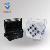 白いケースのRasha 9*10W RGBW/RGBA 4in1カラーDMX LED平らな同価ライト電池式の無線段階LEDライト