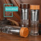 Coperchio di bambù! Bottiglia di acqua di vetro di Infuser del tè doppio (DC-KS400)