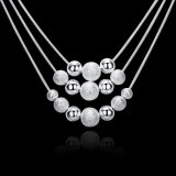 La riga tre collana Pendant 18inch della sfera placcata argento della collana di molti branelli borda la collana