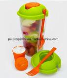 Ensalada de frutas de plástico OEM Ir al servicio de taza con horquilla