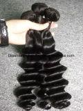 Onda frouxa preta natural de trama brasileira do cabelo humano de Remy da felicidade 3 pacotes