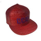 Пользовательские вышивка красный провод фиолетового цвета кожи плоскую крышку Snapback законопроект о головных уборов