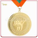 Médaillon de haute qualité en métal plaqué or en métal avec cordon imprimé
