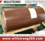 bobina di alluminio preverniciata grano di legno di 0.25mm
