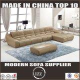現代流行L形の本革のソファ