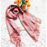 Dog Tooth Acrylic Stole/Lady Scarf with Loop Yarns (HWBA109)