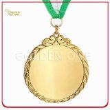 高品質の印刷された締縄が付いている金によってめっきされる金属のスポーツの円形浮彫り