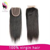 Закрытие 4*4 прямых волос оптовой девственницы 100% бразильское