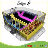 Preiswerte Vierecks-Trampoline-Karosserien-Gebäude-Trampoline mit Schaumgummi-Vertiefung für Kinder
