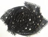 Sciarpa di timbratura calda del poliestere della stella delle donne di modo (HW08)