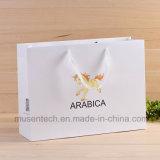 Offset de impresión Cmyk personalizado aceptado Bolsa de papel recubierto de alta calidad de la compra con la manija de la cinta para la ropa / la comida