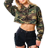 Les femmes récolte Top Fashion pull Hoodie Camouflage Hoodie une impression haute qualité Terry Hoodie