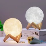 3Dプリント月ランプの常夜燈2カラー変更の接触スイッチ夜ランプによっては10cm 12cm 15cm 18cm木製のホールダー8cmが付いている装飾が家へ帰る