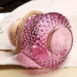 황마 밧줄 손잡이를 가진 다이아몬드 디자인 유리제 화병